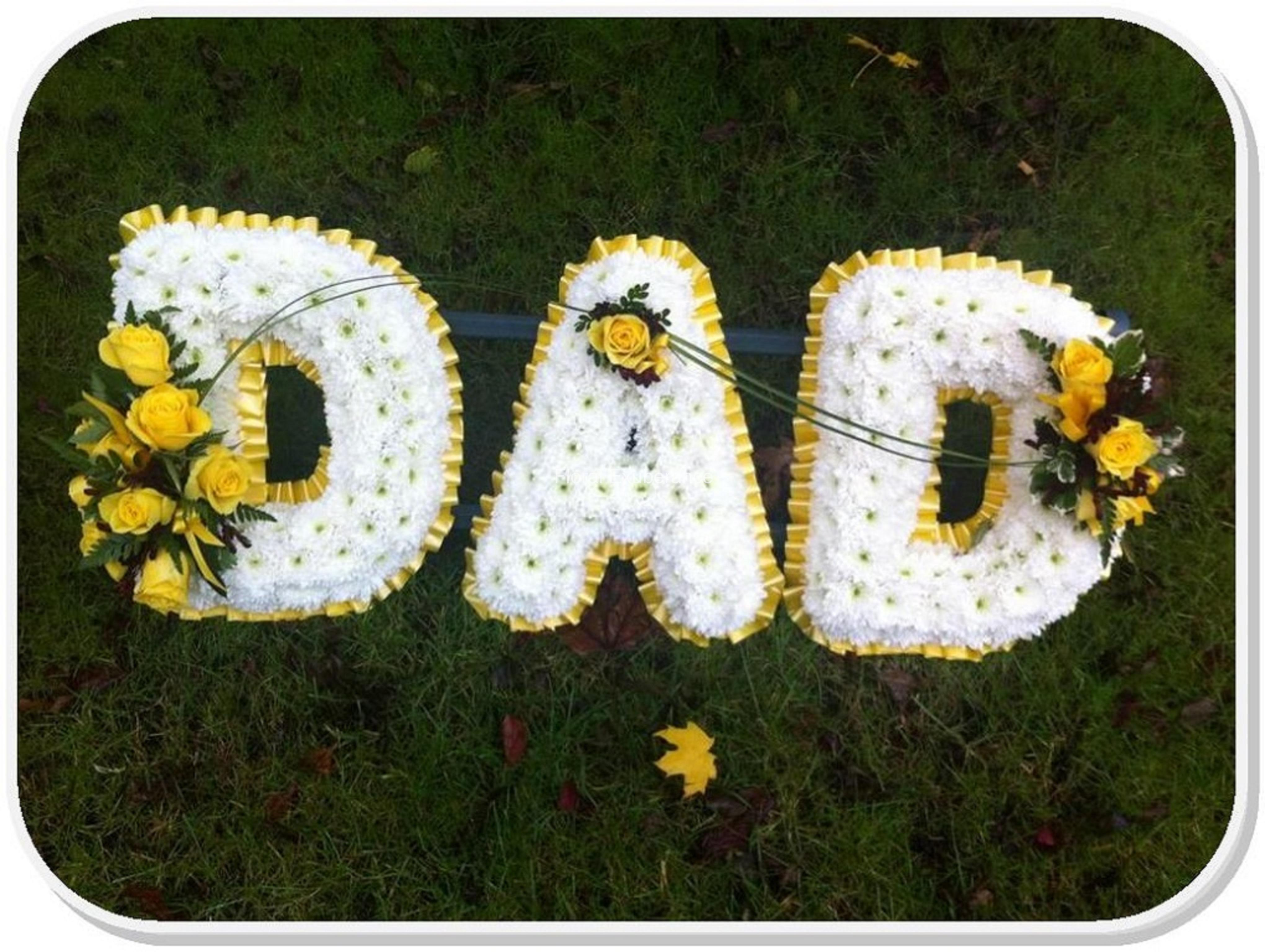 Funeral tribute dad frame with ribbon edge floral exuberance izmirmasajfo