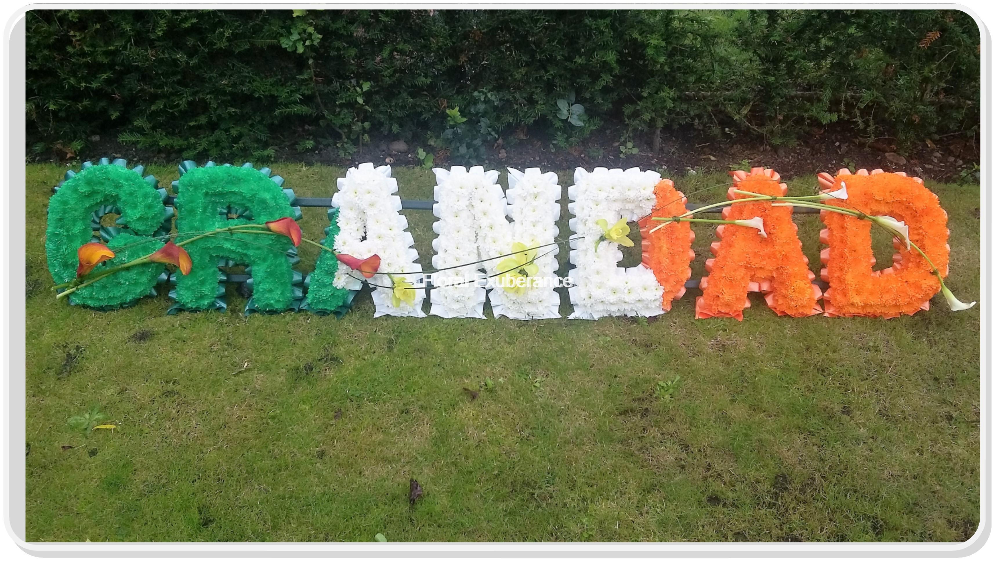 Grandad funeral flower letters in irish flag design floral exuberance izmirmasajfo