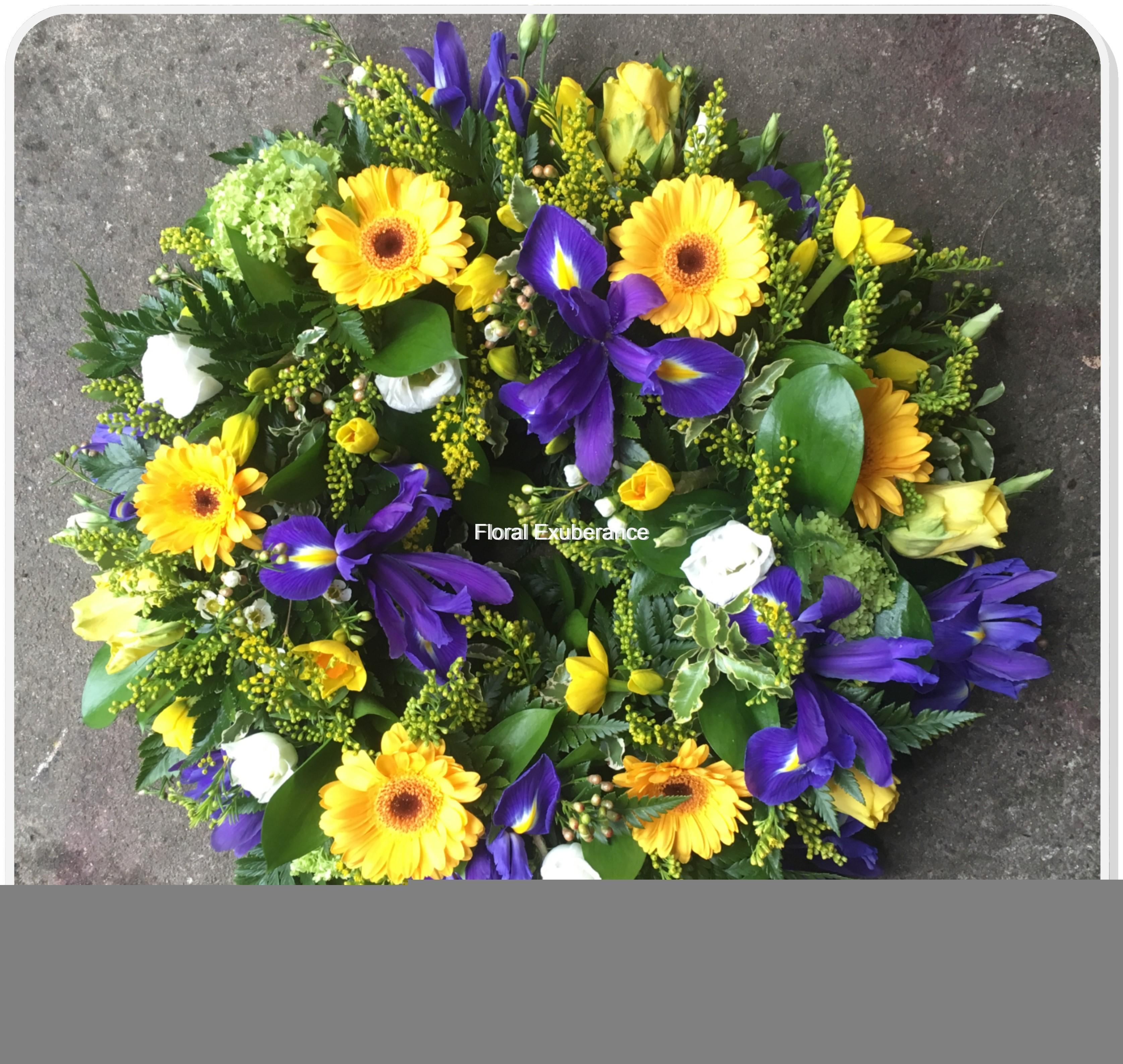 Yellow And Blue Funeral Wreath Floral Exuberance